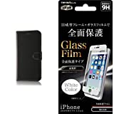 レイ・アウト iPhone7 Plus ケース 手帳型 シンプル マグネット(スリム /カード収納×3 /スタンド機能) ブラック/ブラック RT-P13ELC1/BB & レイ・アウト iPhone7 Plus フィルム 液晶保護ガラスフィルム 9H 全面保護 プラスチックフレーム 光沢/ホワイト  RT-P13FCG/W セット