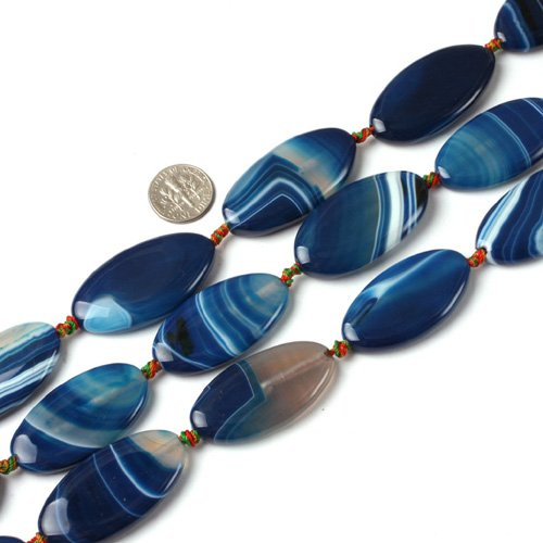20x40mm oval gemstone banded blue agate beads