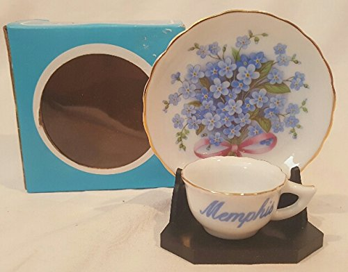 Memphis Mini Decorative Plate and Saucer, Violets Miniature Plate, Memphis Cup and Saucer Set with Display Stand 3-1/4