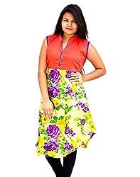 Aarti Collections Women's Cotton Kurti (AC-872C_Orange_Large)