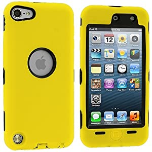 generic Yellow Deluxe Hybrid Premium Rugged Hard Soft Case Skin Cover for Apple iPod Touch 5th Generation 5G 5