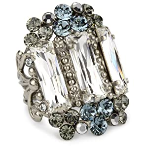"Sorrelli ""Pewter"" Bold Crystal Adjustable Silver-Tone Ring"