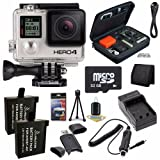 GoPro HERO4 Black + AHDBT-401 Replacement Lithium Ion Battery + External Rapid Charger + 32GB microSD Class 10 Memory Card + Micro HDMI Cable + Custom GoPro Case for GoPro HERO4 and GoPro Accessories + SDHC Card USB Reader + Memory Card Wallet + Deluxe Starter Kit  Brands Special Bundle
