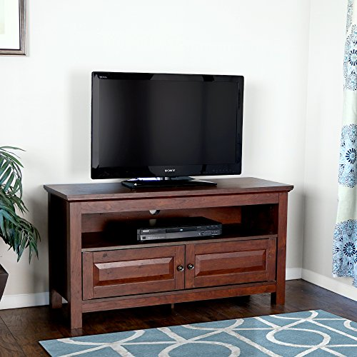 Walker Edison 44-Inch Wood TV Console, Traditional Brown