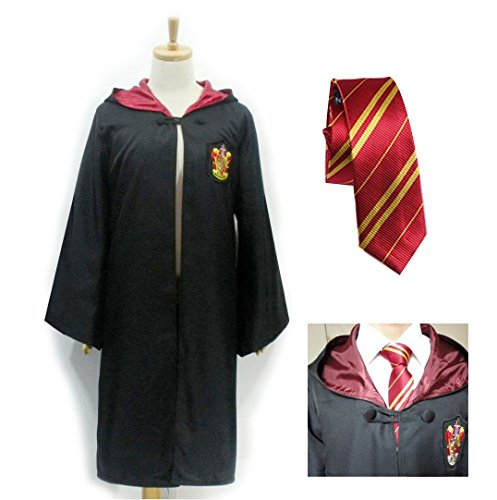 Harry Potter-Gryffindor Cloak Robe Cape With Tie for Kids & Adults Halloween Fancy Costume