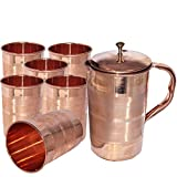 Dungri India Pure Copper Jug With 6 Tumbler Glass Set For Ayurvedic Healing