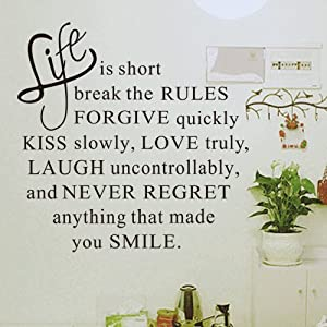 Amazon.com  ToprateTM Quote Life is short inspirational