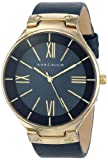 Anne Klein Womens AK/1612NVNV Gold-Tone Navy Blue Leather Strap Watch