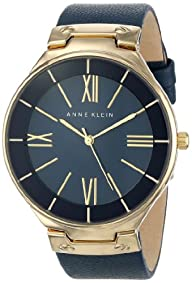 Anne Klein Women's AK/1612NVNV Gold-Tone Navy Blue Leather Strap Watch