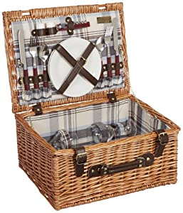 Picnic Time Bristol Willow Picnic Basket with Deluxe Service for Two by Picnic Time