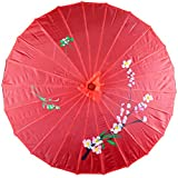 Asian Parasol Umbrella Fabric Hand-painted Chinese Japanese (red)