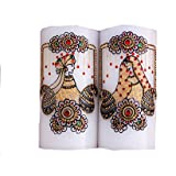White Dulha Dulhan Set Of 2 Candles With Tealight On Top