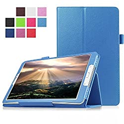FanTEK Samsung Galaxy Tab E 8.0 SM-T377 (Sprint / US Cellular / Verizon ) 4G LTE 8-Inch Tablet Case - PU Leather Multi-Angle Stand Auto Sleep Wake Magnetic Smart Cover (Light Blue)