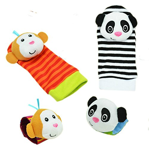 Weitengs 4xBaby Infant Soft Toy Wrist Rattles Hands Foots finders Developmental