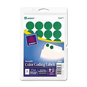 Avery Print/Write Self-Adhesive Removable Labels, 0.75 Inch Diameter, Green, 1008 per Pack  (5463)