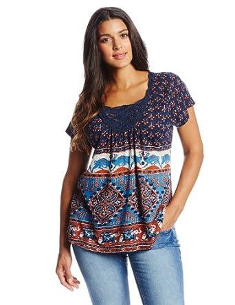 Lucky Brand Women's Plus-Size Elephant Bazaar Top, Multi ...
