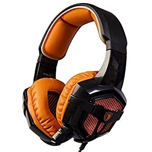 SADES SA-806 Orange LED Light Surround Sound Stereo PC Gaming Headset with Microphone Noise-cancelling Wired Headphone for PC/Laptop (Black+Orange)