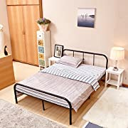 GreenForest Full Size Bed Frame with Headboard and Stable Metal Slats Boxspring Replacement Double Platform Mattress Base,Black