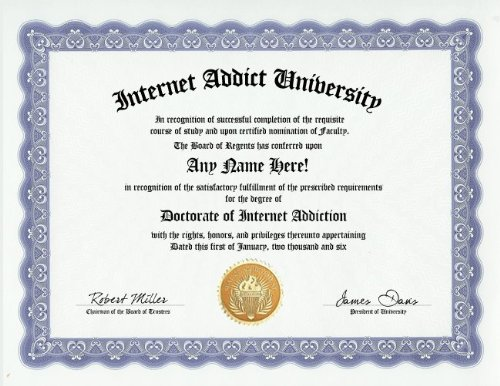earn certificate internet addiction lmao