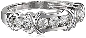 14k White Gold X and O Channel-Set Diamond Ring (1/2 cttw H-I Color, I1-I2 Clarity), Size 6