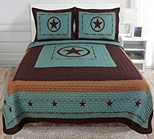 Western Star Barbed Wire Queen Size Quilt and Shams 3pc Set Turquoise Blue