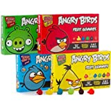Angry Birds Fruit Gummy Candy 3.5 Oz, 3 of Each Colorored Box Assortment of 6 Fabulous Flavors, Cherry, Lemon, Blue Raspberry, Apple, Grape, and Strawberry, (Pack of 12 Total)
