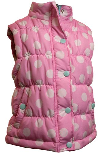 Girls Polka Dot Padded Zip Up Popper Fastener Gilet – Size 2 / 3 Years