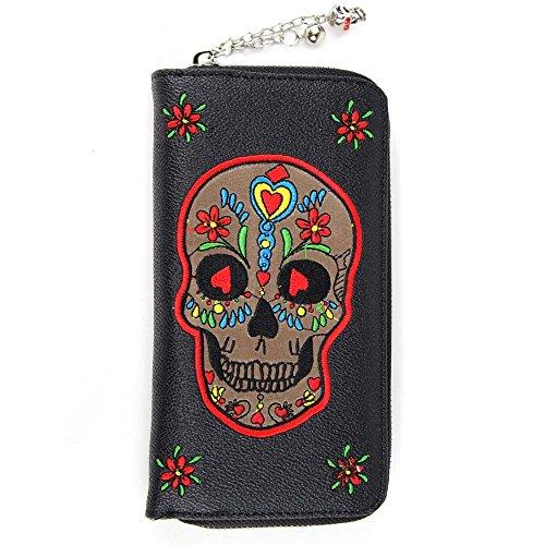 Vietato donna XL miniportafoglio con bande Sugar Skull - Rockabilly timando portamonete