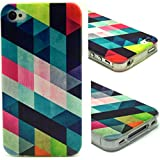 IPhone 4S Case, [Geometric diamond chart Pattern] [Drop Protection] Apple iPhone 4/4S Case Slim Fit Soft TPU Cover [Shock Absorbent] Armor Bumper iPhone 4/4S Case(Package includes: 1 X Screen Protector and 1X Stylus Pen image