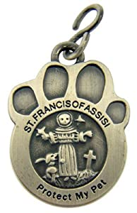 Pewter Saint Francis of Assisi Medal for Dog or Cat Pet Collar, 1 1/2 Inch