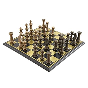 Deco 79 Metal Wood Chess Set, 17 by 6-Inch, Mahogany Brown