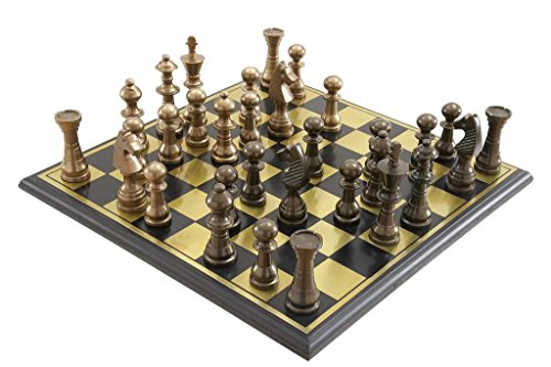 Deco 79 Metal Wood Chess Set, 17 by 6-Inch, Mahogany Brown 0