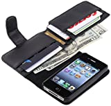 eForCity Leather Case with Wallet for Apple iPhone 4/4S - Retail Packaging - Black