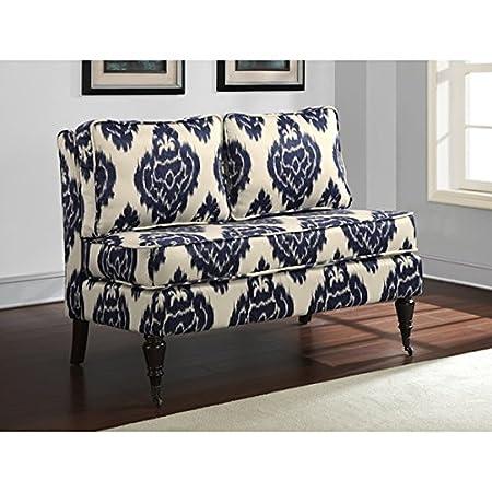 Custom Wood Modern Contemporary Blue Ikat Loveseat