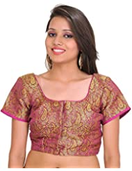 Exotic India Deep-Orchid Brocaded Choli From Banaras With Woven Paisley - Purple