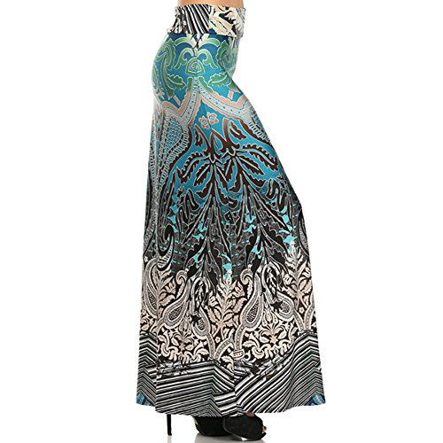 (Plus Size) Women'S Abstract Print High Waisted Maxi Skirt (Made In Usa)