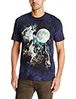 The Mountain Men's Three Wolf Moon In Blue T-Shirt