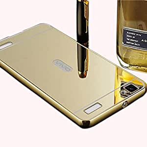 ROKAYA luxury aluminium bumper with mirror acrylic back cover for Vivo Y37, Golden