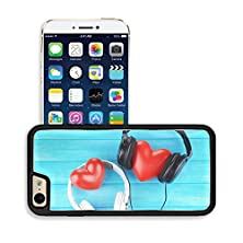 buy Luxlady Premium Apple Iphone 6 Iphone 6S Aluminum Backplate Bumper Snap Case Image Id 30646364 Headphones And Hearts On Wooden Background