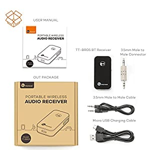 Bluetooth Receiver / Car Kit, TaoTronics Portable Wireless Audio Adapter 3.5 mm Stereo Output (Bluetooth 4.0, A2DP, Built-in Microphone) for Home Audio Music Streaming Sound System