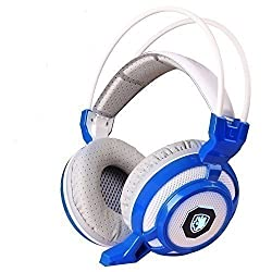 SADES SA905 7.1 Surround Sound USB Gaming Headset with Microphone Glittering LED Lights Vibration Module Integrated Subwoofer Noise Insulation for PC Gamer Whiteblue