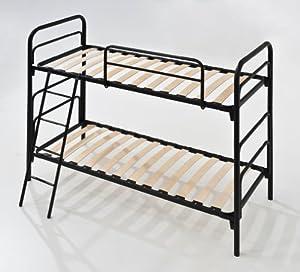 Etagenbett 2 Plätze mit Lattenrost aus Holz Einzel Matratze, 80x190 Struktur aus Eisen