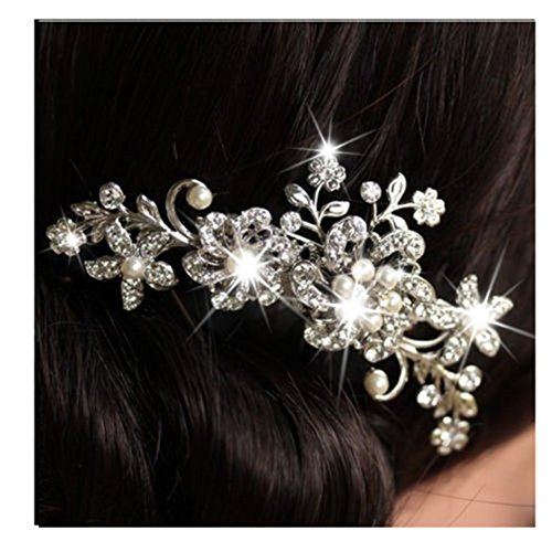 Zxuy Charm Bridal Wedding Silver Crystal Rhinestones Pearls Women Hair Comb Clip Hot