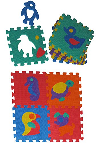 10 tlg Set: Puzzle Teppich aus Mossgummi - verschiedene Tiere zum puzzeln / Puzzleteppich - Spieleteppich Puzzlematte - Spielmatte Kinderteppich - Bodenmatte