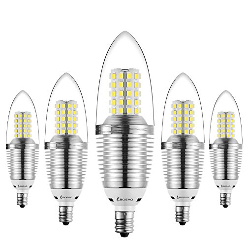 Bogao (5 Pack) LED Candelabra Bulb, 9W Daylight LED Candle Bulbs, 90 Watt Light Bulbs Equivalent, E12 Candelabra Base,800 Lumens LED Lights,Torpedo Shape White 6000K (Candelabra Daylight Bulb compare prices)