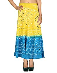 Dazzling Casual Skirt Cotton Yellow Ethnic Tie Dye For Women By Rajrang