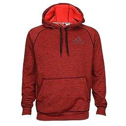 New Adidas Men\'s Team Issue Fleece Pullover Hoodie Black/Scarlet Large