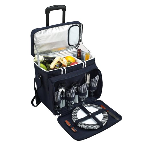 Lowest Price! Picnic at Ascot Bold Picnic Cooler For 4 with Removable Wheeled Cart, Navy