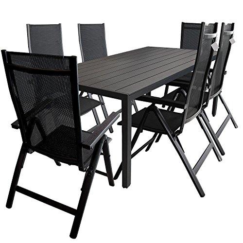 7tlg. Gartengarnitur Aluminium Polywood Gartentisch 205x90cm Alu Hochlehner 6-Positionen 4×4 Textilen Polywood Armlehnen Terrassenmöbel Sitzgarnitur Sitzgruppe Schwarz