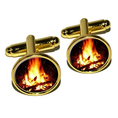 Campfire - Camp Camping Fire Pit Logs Flames Round Cufflink Set - Gold from Graphics and More